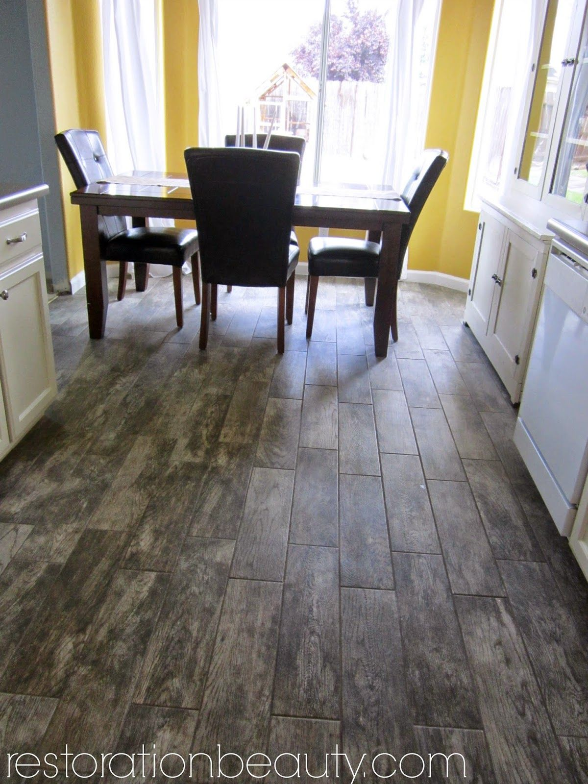 Faux Wood Tile Flooring In the Kitchen