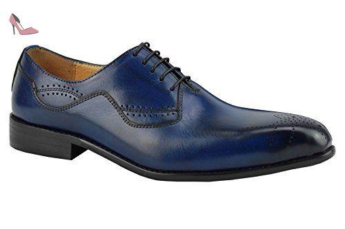 Chaussures richelieu en cuir véritable pour homme bleu à