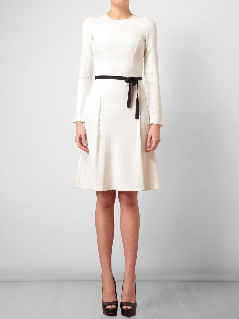 7e7a945d4a Roland Mouret Classic Crepe Dress in White (black) | Lyst | Belt it ...