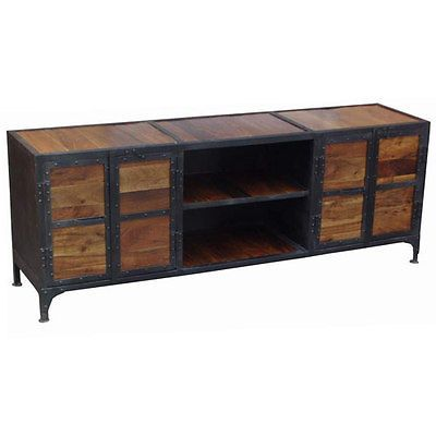 Tv möbel industrial design  Tv stand cabinet industrial design iron frame widescreen solid ...