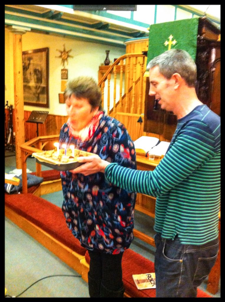 Happy birthday to Trudie during one of our Gospel Choir rehearsals.