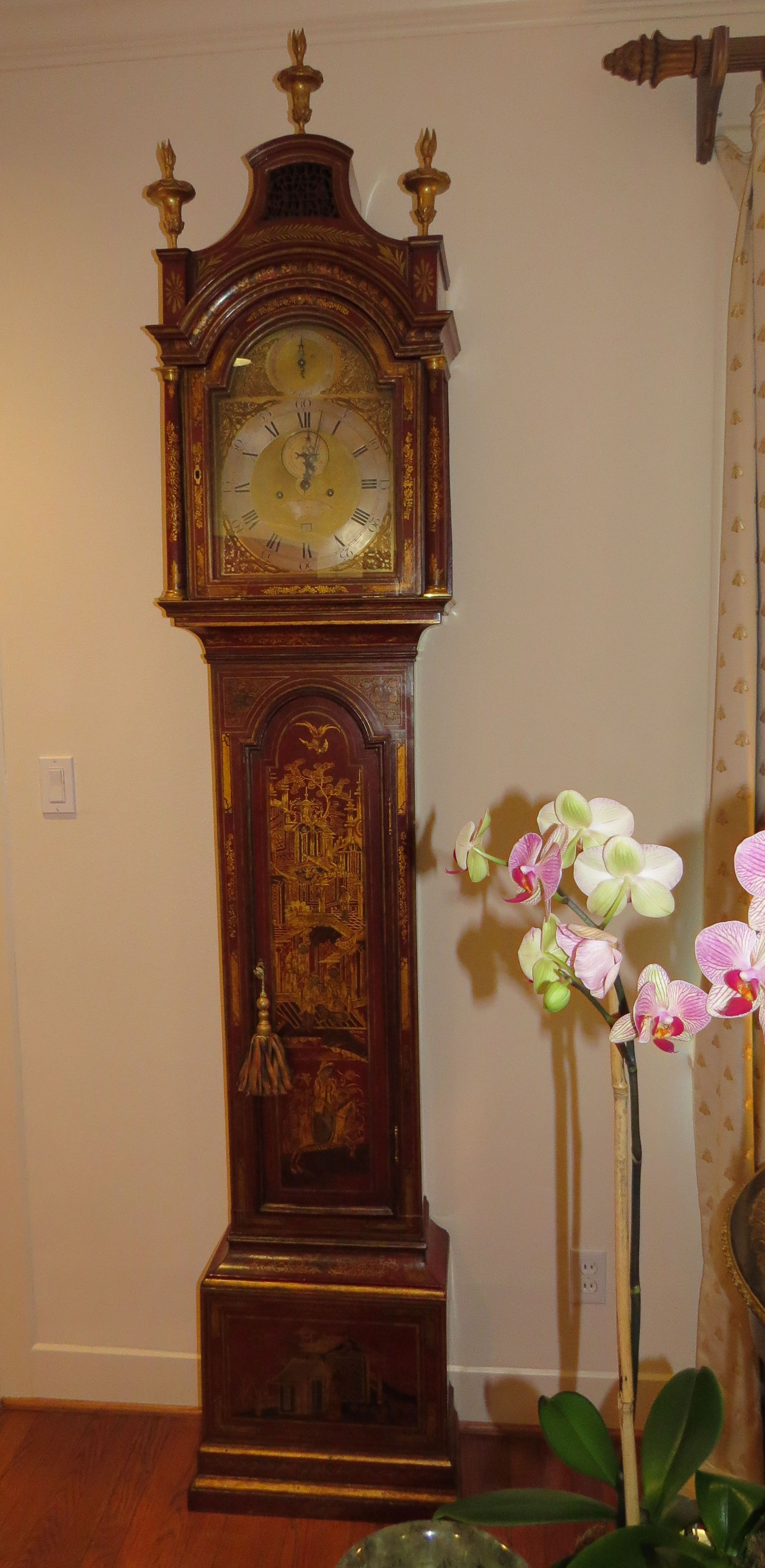 Red Chinoiserie Long Case London Clock Signed By James
