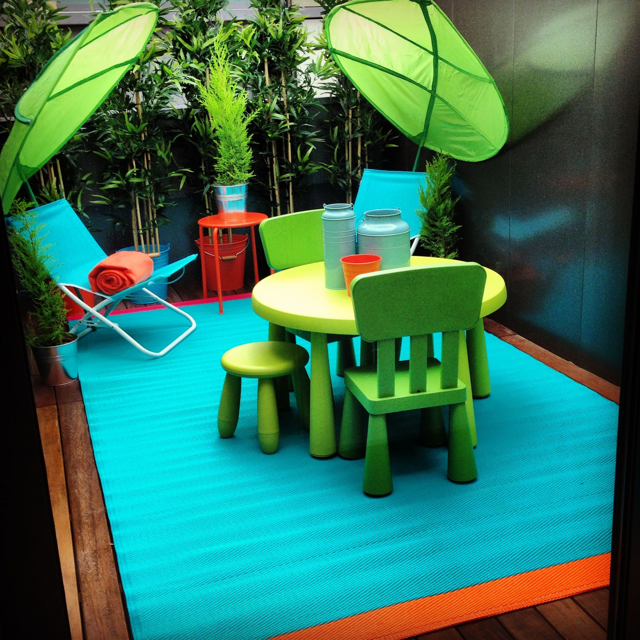 Our mini play terrace.  Kids play area, Apartment patio, Toddler