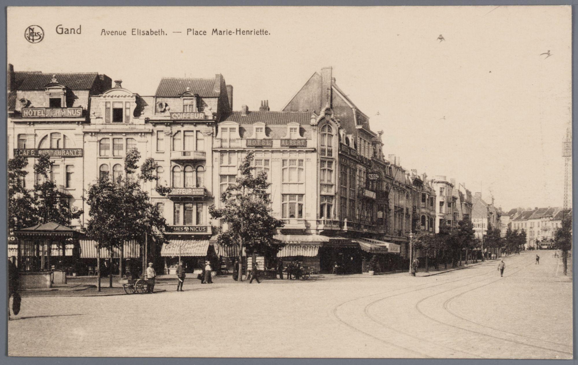 Gent: Koningin Maria Hendrikaplein, hoek Koningin Elisabethlaan