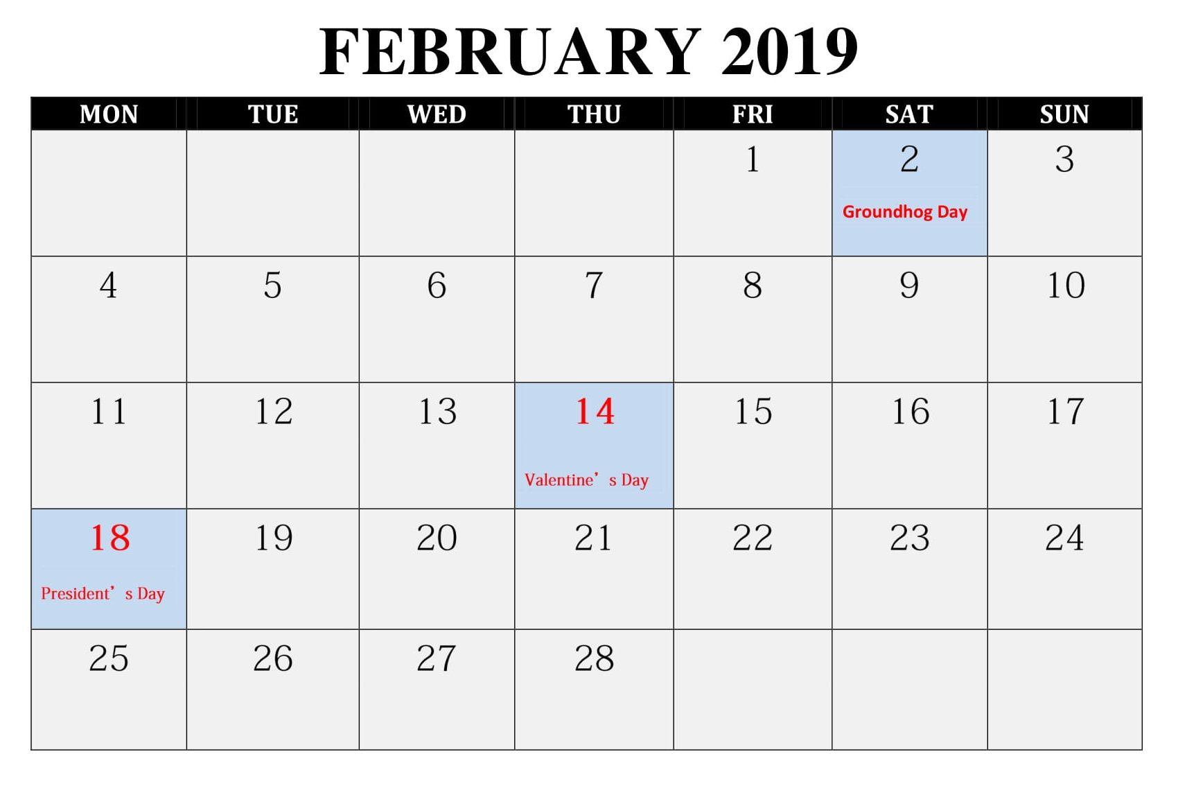 Editable February 2019 Calendar With Holidays Feb February2019