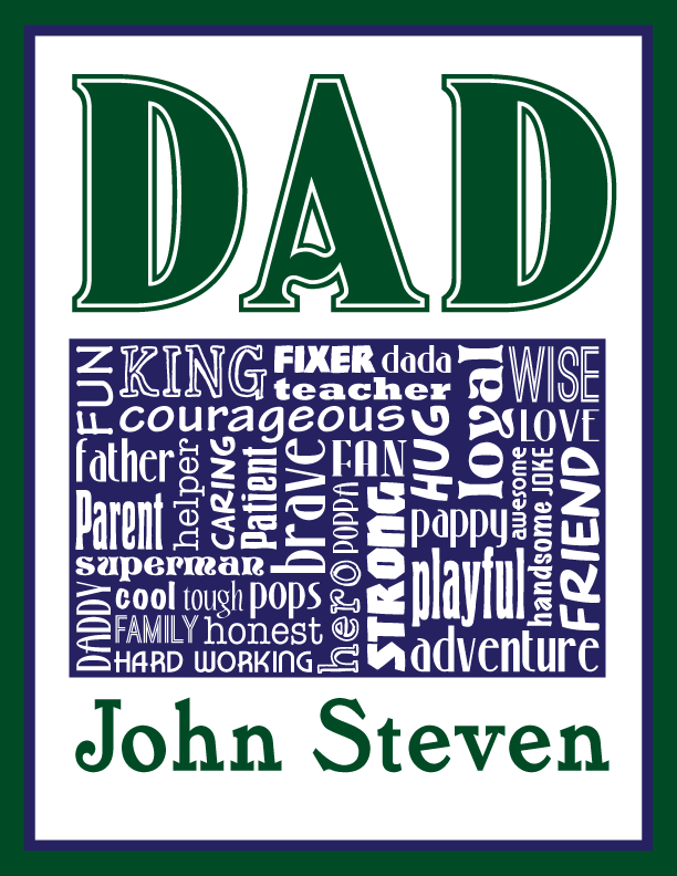 Personalized Dad Father S Day Word Art Typography Wall