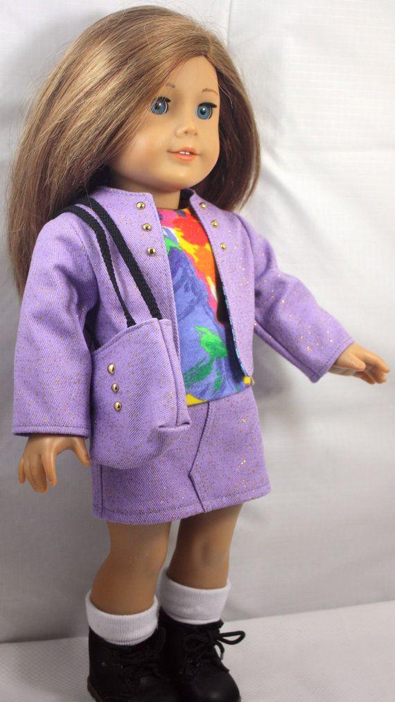 American Girl Doll Clothes-Lilac Jacket, Skirt, Shirt and totebag ...