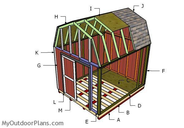 10x12 Gambrel Shed Roof Plans Myoutdoorplans Free Woodworking Plans And Projects Diy Shed Wooden Playhouse P Shed Plans Shed Floor Plans Barn Style Shed
