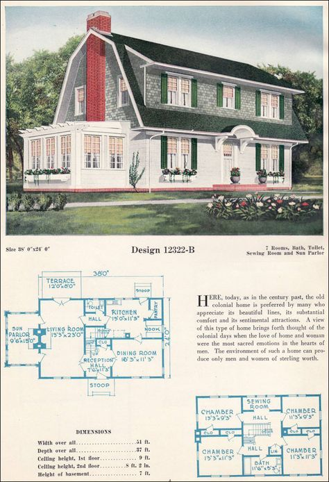 home plan dutch colonial c 1923 c l bowes 12322 b - Colonial Lake House Plans