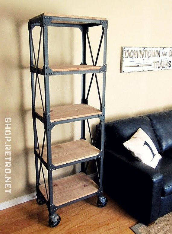 French Industrial Vintage Ironworker Bookshelf
