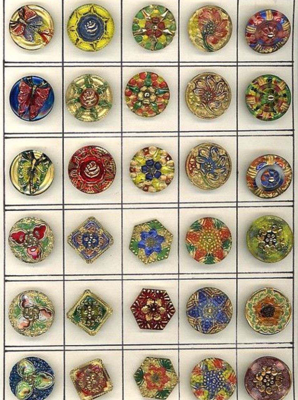 Vintage Lacy Glass Buttons