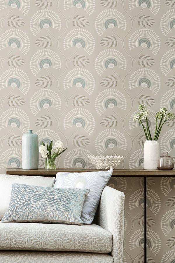 Louella By Harlequin Seaglass Pearl Wallpaper Wallpaper Direct Pearl Wallpaper Boho Living Room Mural Wallpaper
