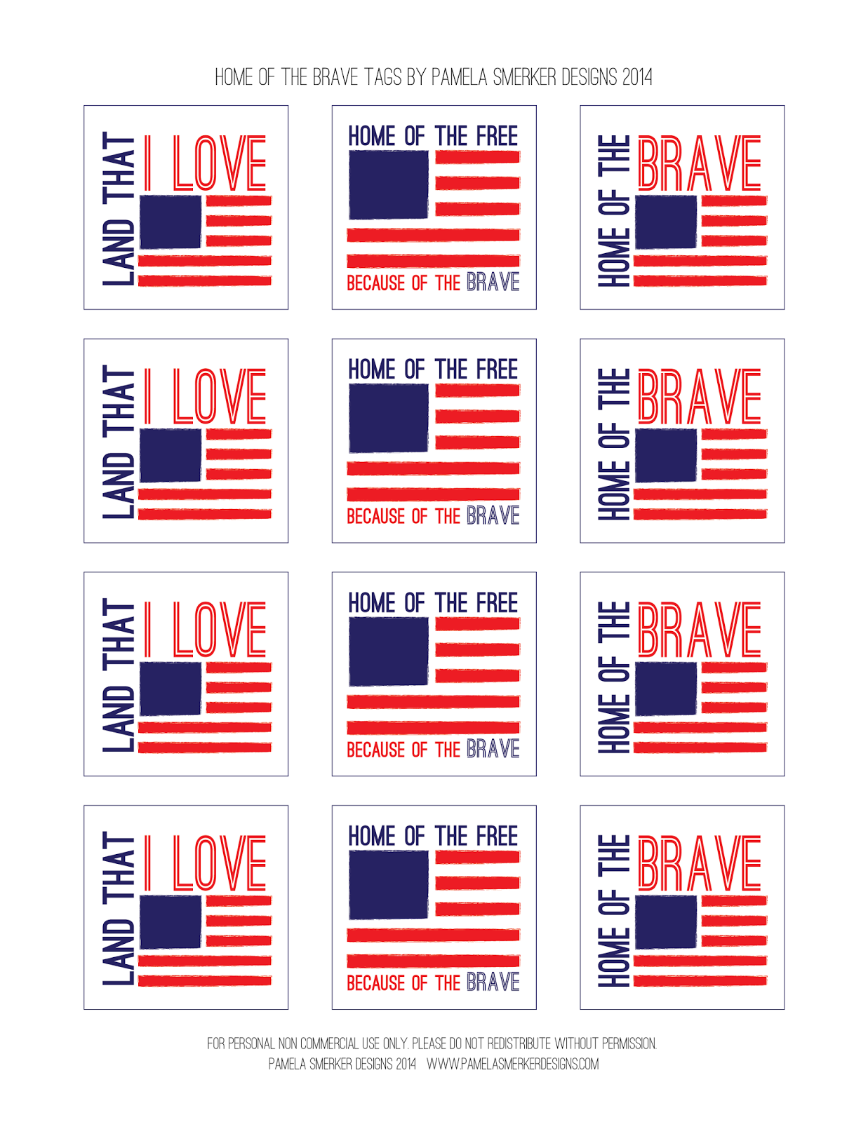 Free Memorial Day Printable 2 Squares By Pamela Smerker