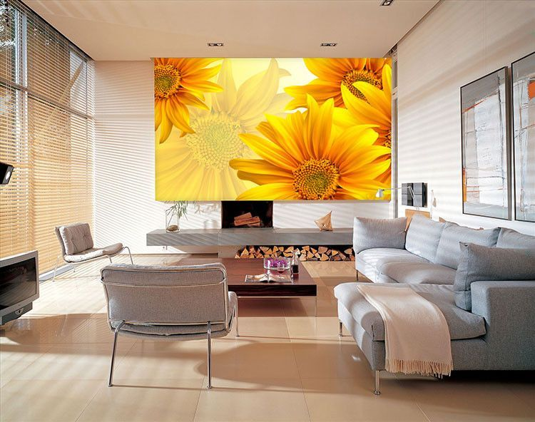 Yellow Flower Wall Paper Wall Print Decal Wall Deco Indoor wall ...