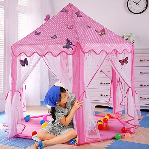 Princess TentRSmile Kids Baby Play Tent House Large Indoor Playhouse Outdoor Kids Portable Tent Decorate with ButterflyGift Tents for Girls Pink Playtent ... & Princess TentRSmile Kids Baby Play Tent House Large Indoor Playhouse ...