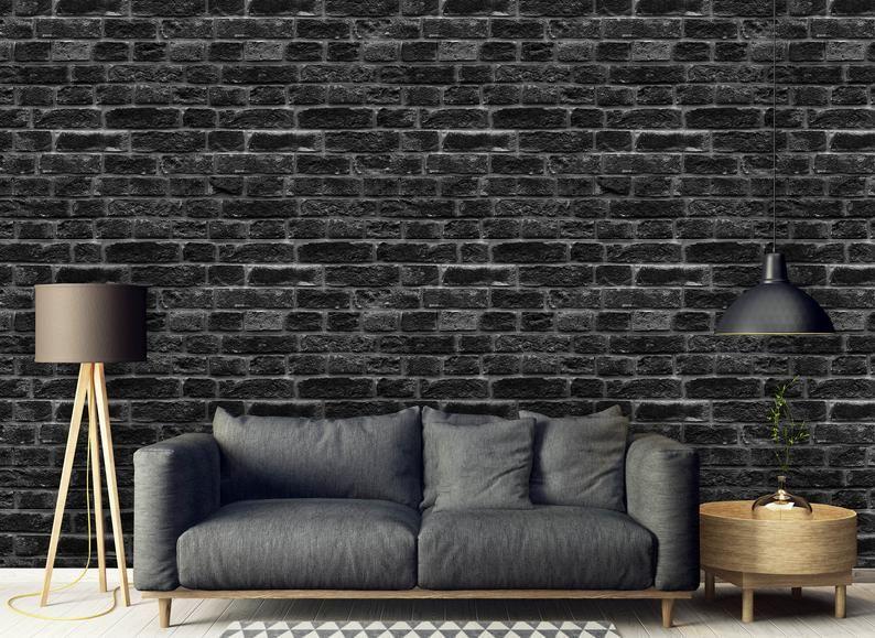 Removable Peel N Stick Wallpaper Self Adhesive Wall Etsy Painted Brick Walls Black Brick Wall Black Brick Wallpaper