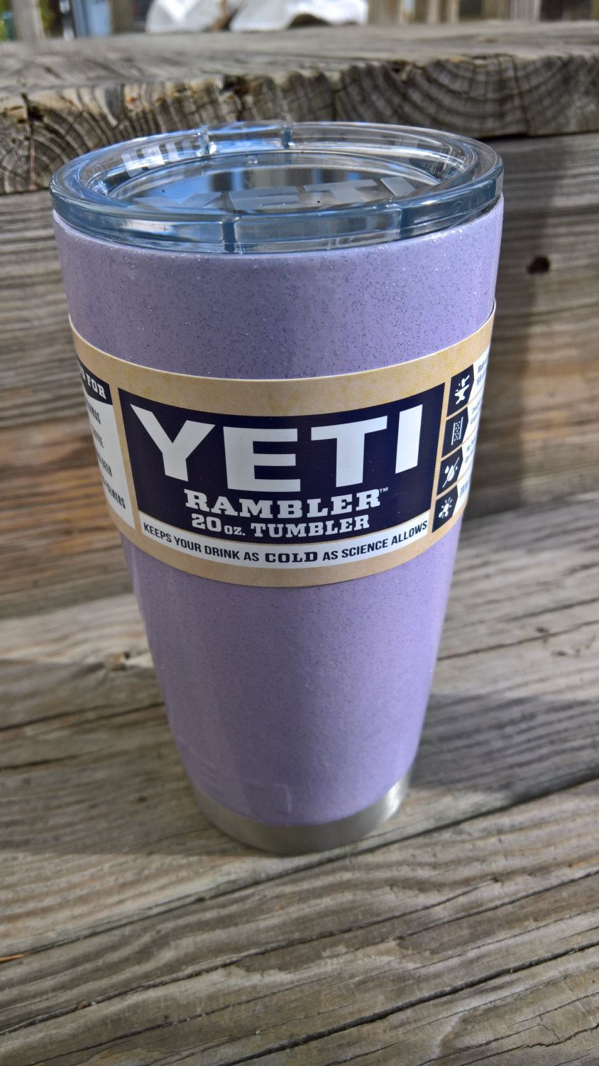 Glitter coated YETI Stainless Steel 20 oz Rambler