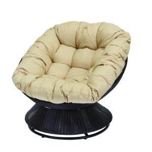 Hampton Bay Papasan Patio Chair With Tan Cushion Discontinued