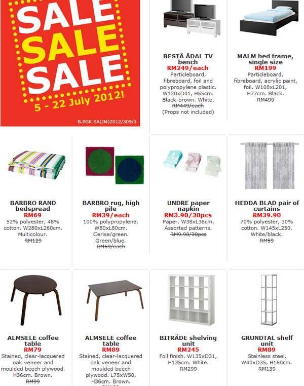 Ikea Malaysia Sale (Sales period: 5 July 2012 – 22 July 2012)  http://www.mudah.co/ikea-malaysia-sale/617/