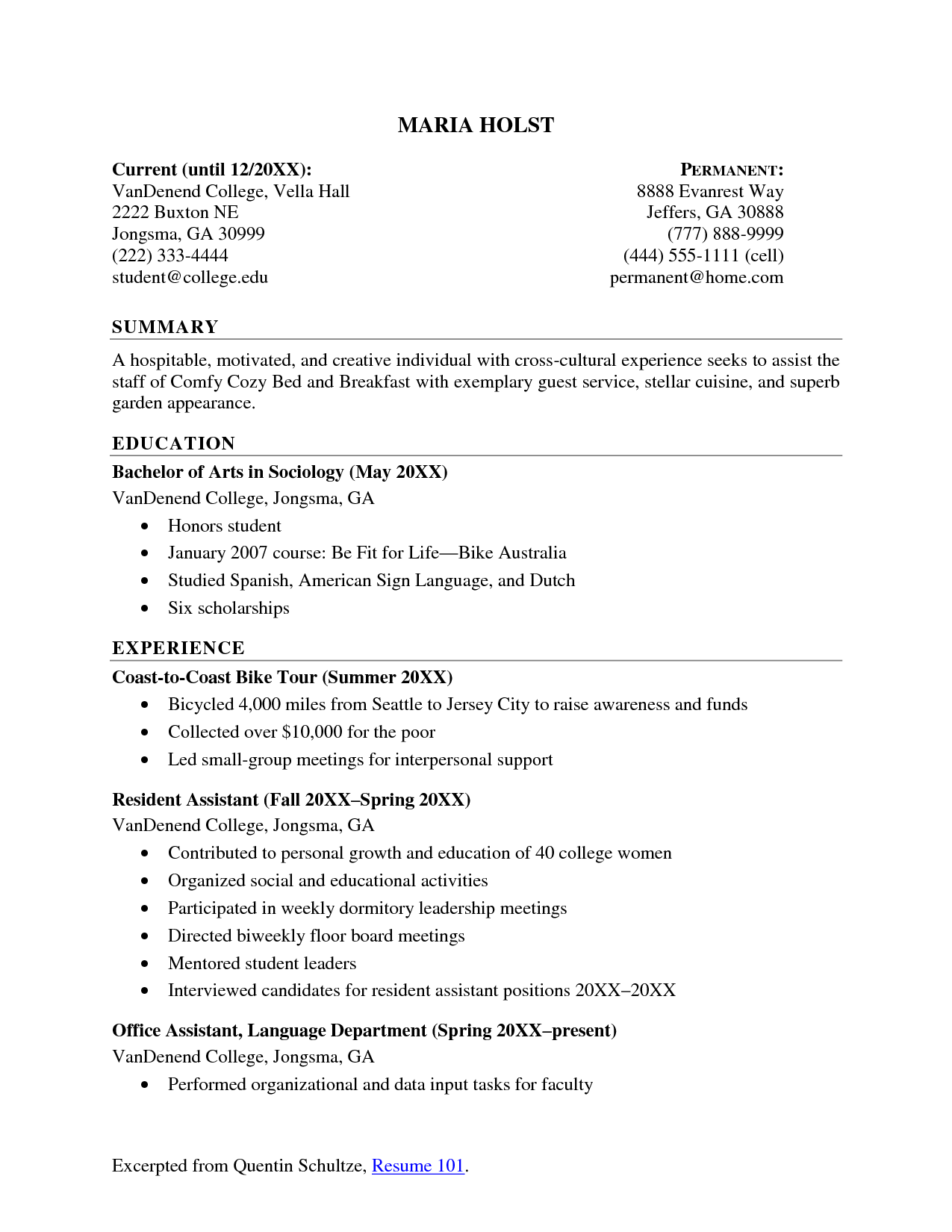 Sample Student Resume Builder Examples College Students Internship