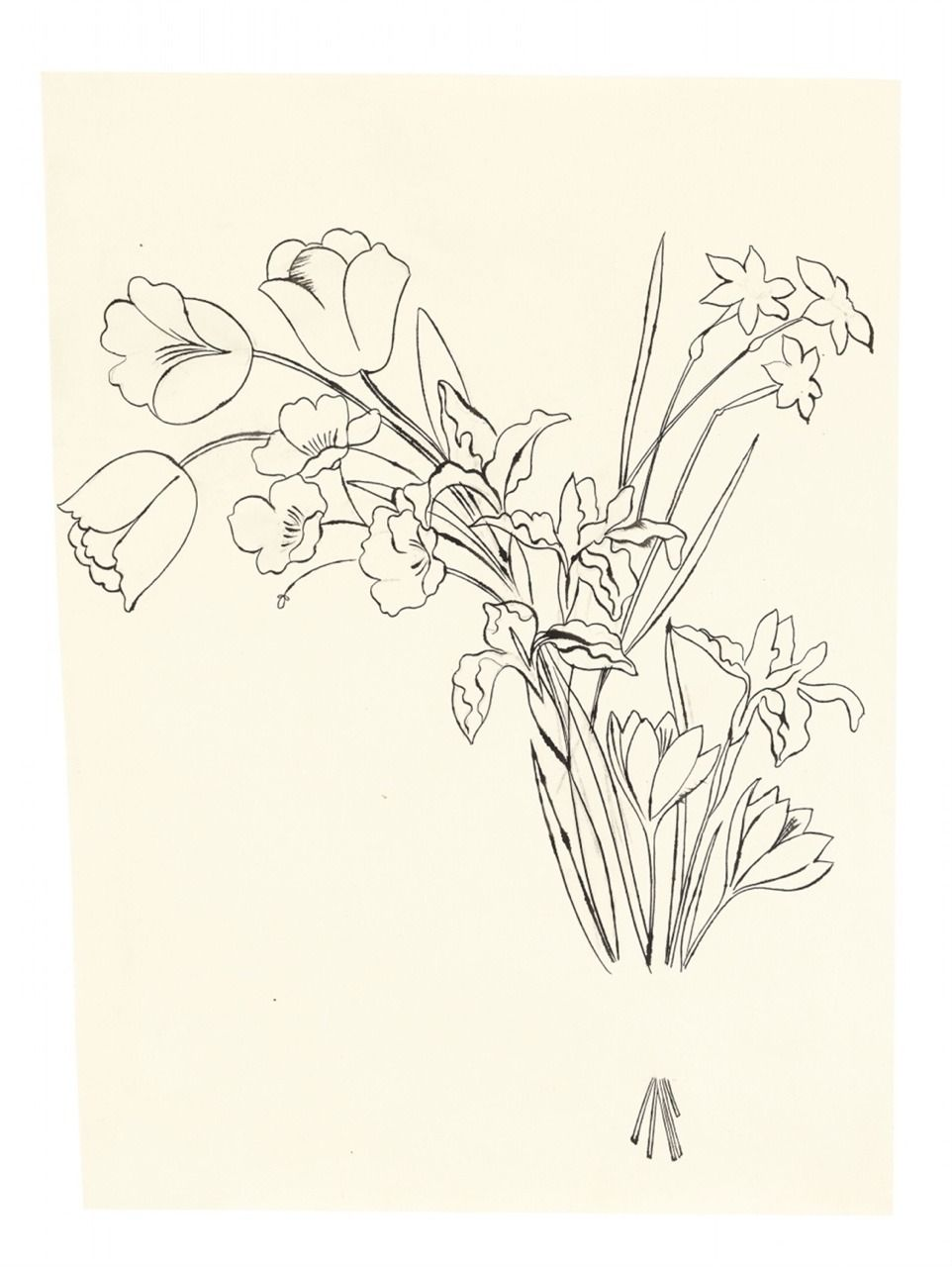 Girlfawn Bouquet Of Flowers Drawn By Andy Warhol In 1956