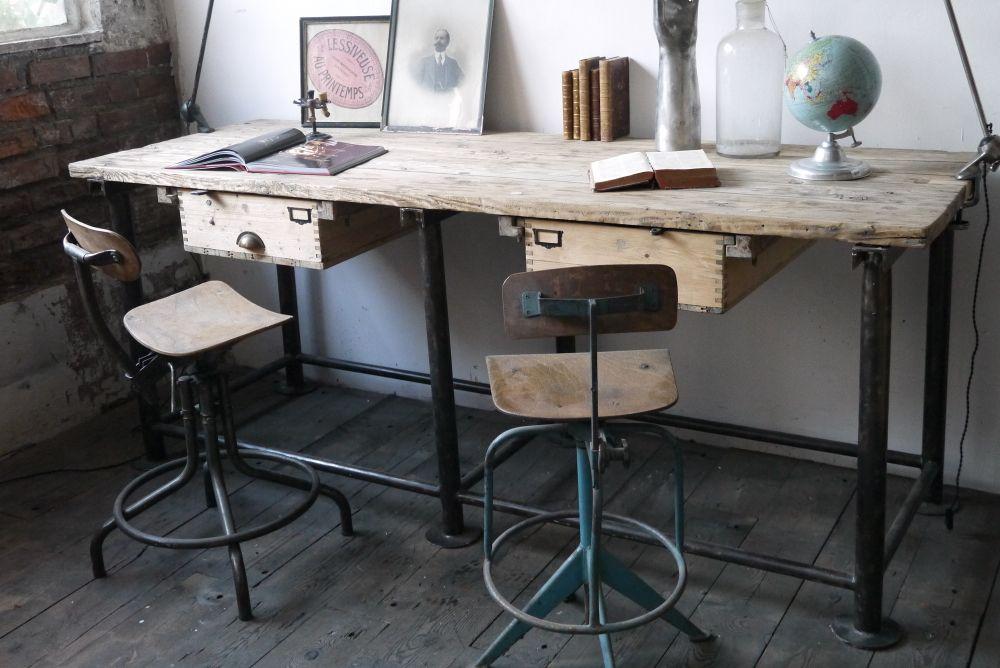 Bureau industriel double poste de travail metal et bois home