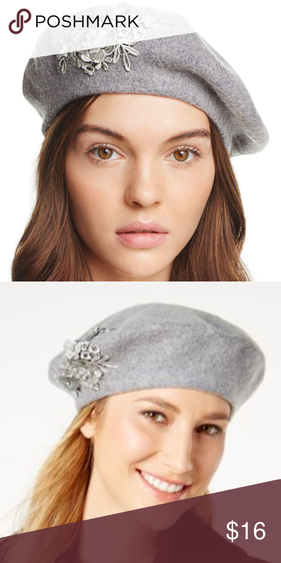 8b37c425ae0 NEW AUGUST HATS Gray Wool Blend Applique Beret Hat Super cute beret by August  Hats!