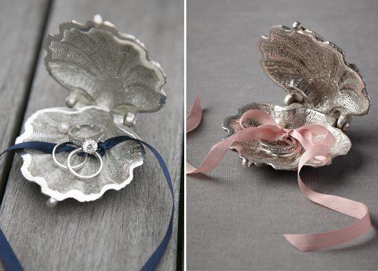4 ringkissen muschel band hochzeit pink blau idee modisch1. Black Bedroom Furniture Sets. Home Design Ideas