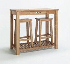 Cambridge Oak Breakfast Bar Table And Stools 100x50x90