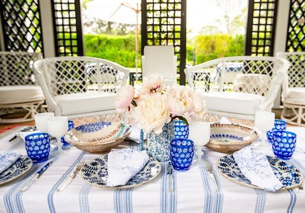Mixed Patterns on Tables - Stripes, dots, and flowers work together thanks to the refined color palette.