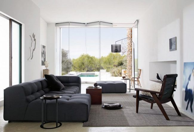Sofa in Grau - 50 Wohnzimmer mit Designer Couch Canapé modulab - wohnzimmer couch grau