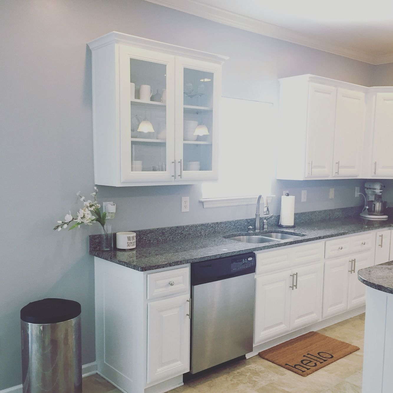 Newly refinished white kitchen cabinets in Benjamin Moore Snow ...