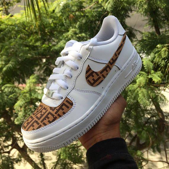 pretty nice f4db1 0a366 Nike Louis Vuitton LV Air Force 1 One Low top Luxury Designer Custom Men s  White Sneaker. Custom Nike Air Force 1 - Brown Fendi Monogram Print Base   ...