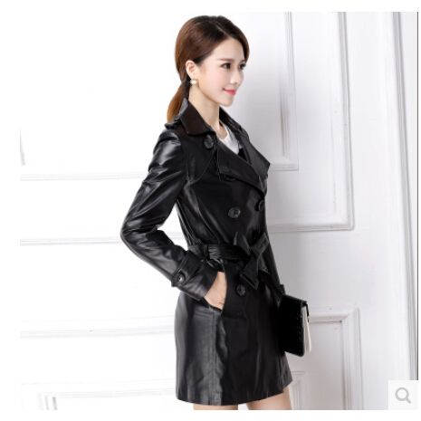HOT !New 2015 Fashion Black Slim Medium-Long Genuine Leather Trench Leather Jacket Double Breasted Trench Coat For Women / M-2XL