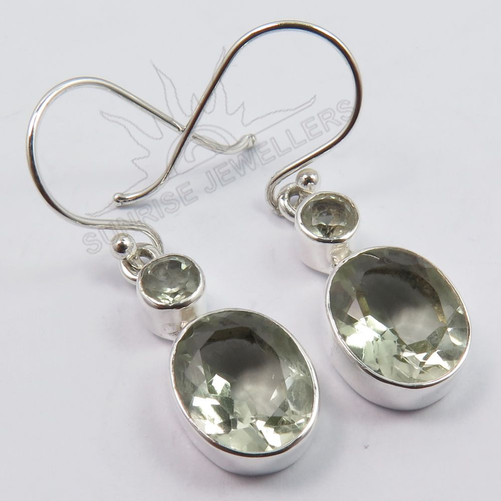 925 Solid Sterling Silver Natural Green Amethyst Gemstones Pretty Earrings Ebay Sunrisejewellers Dropdangle