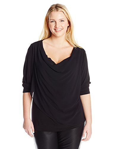 Calvin Klein Womens PlusSize Knit Top with Chiffon Overlay Black 1X >>> You can find out more details at the link of the image.Note:It is affiliate link to Amazon.