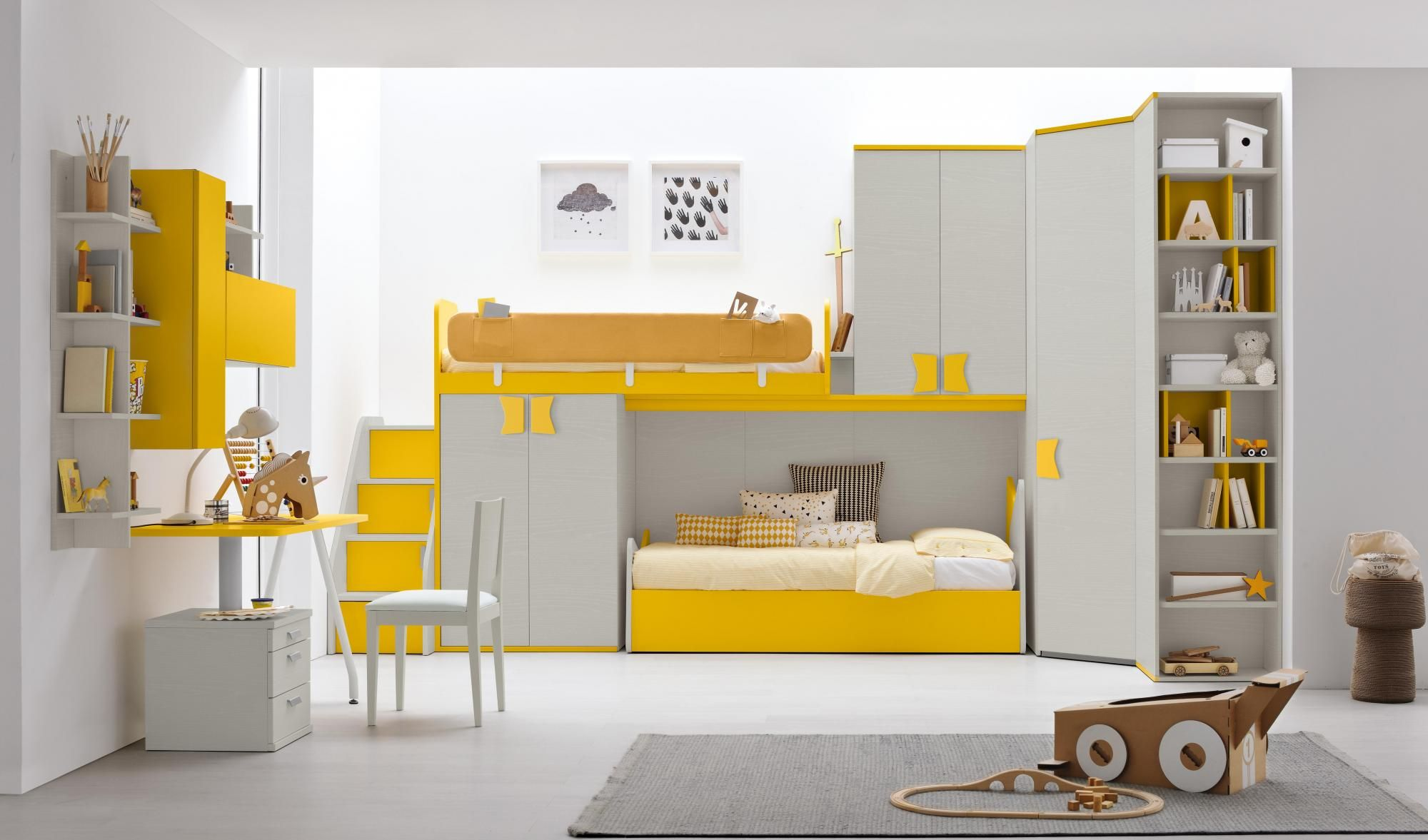 baby and kids bunk beds Golf Bunk Beds Golden yellow Lineare2 ...