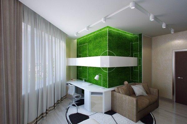 Ideen Für Kinderzimmer Jungen Couch Holz Decke Fußball Schreibtisch