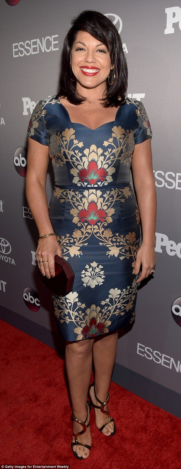 Simple and classy: Sara Ramirez, 40, of Grey's Anatomy went with a classic floral print dr...