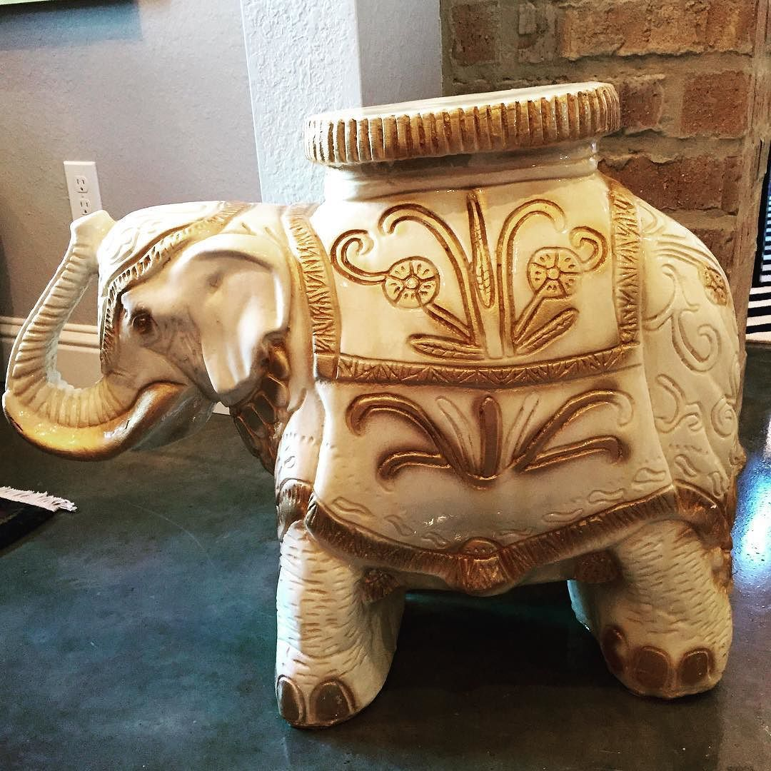 Whoo hoo! Vintage elephant garden stool/plant stand/end table. Cream ...