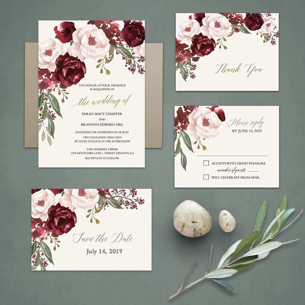 Floral Watercolor Wedding Invitations Burgundy Wine Gold