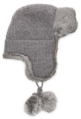 45c138042 Surell grey diamond knit and rabbit fur trimmed pom pom trapper hat ...
