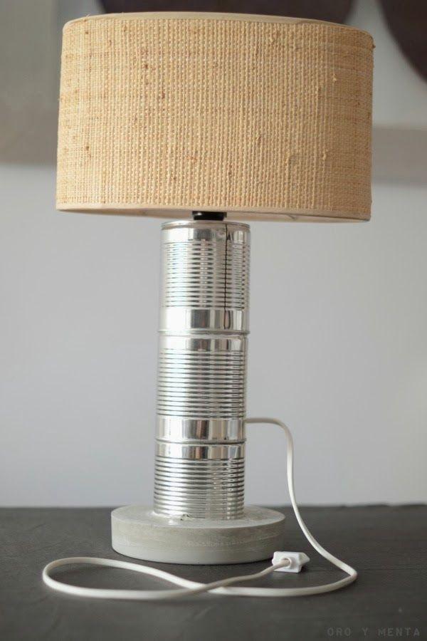 Oro y menta diy lampara con latas recicladas y cemento - Lamparas de mesa recicladas ...