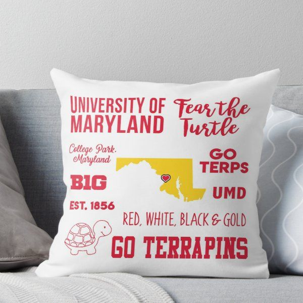 University Of Maryland Throw Pillow Throw Pillows Printed Throw Pillows University Of Maryland