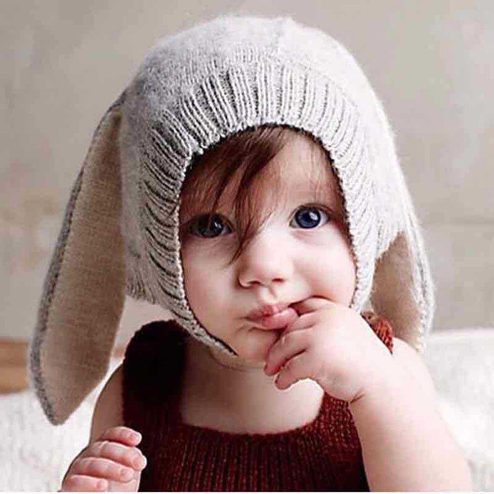 Baby Toddler Kids Boys Girls Knit Crochet Rabbit Ear Beanie Winter Cap Hat Warm