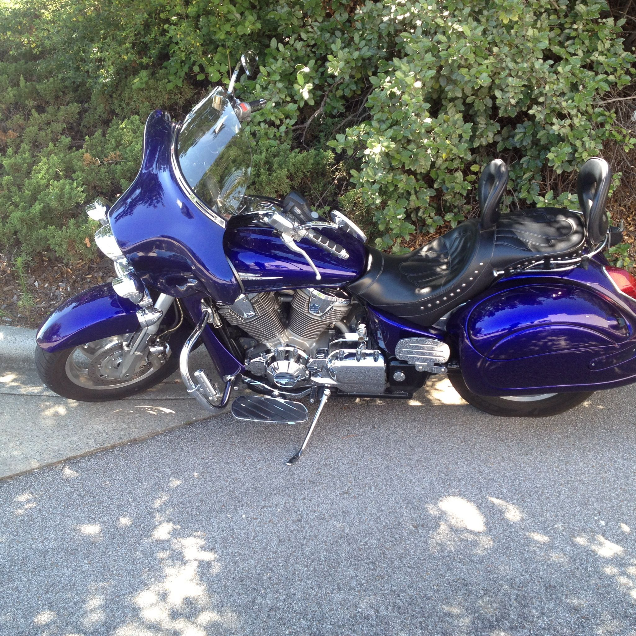 hight resolution of 2003 honda vtx 1800 retro illusion blue corbin dual tourer seat beetlebags wide open customs fairing