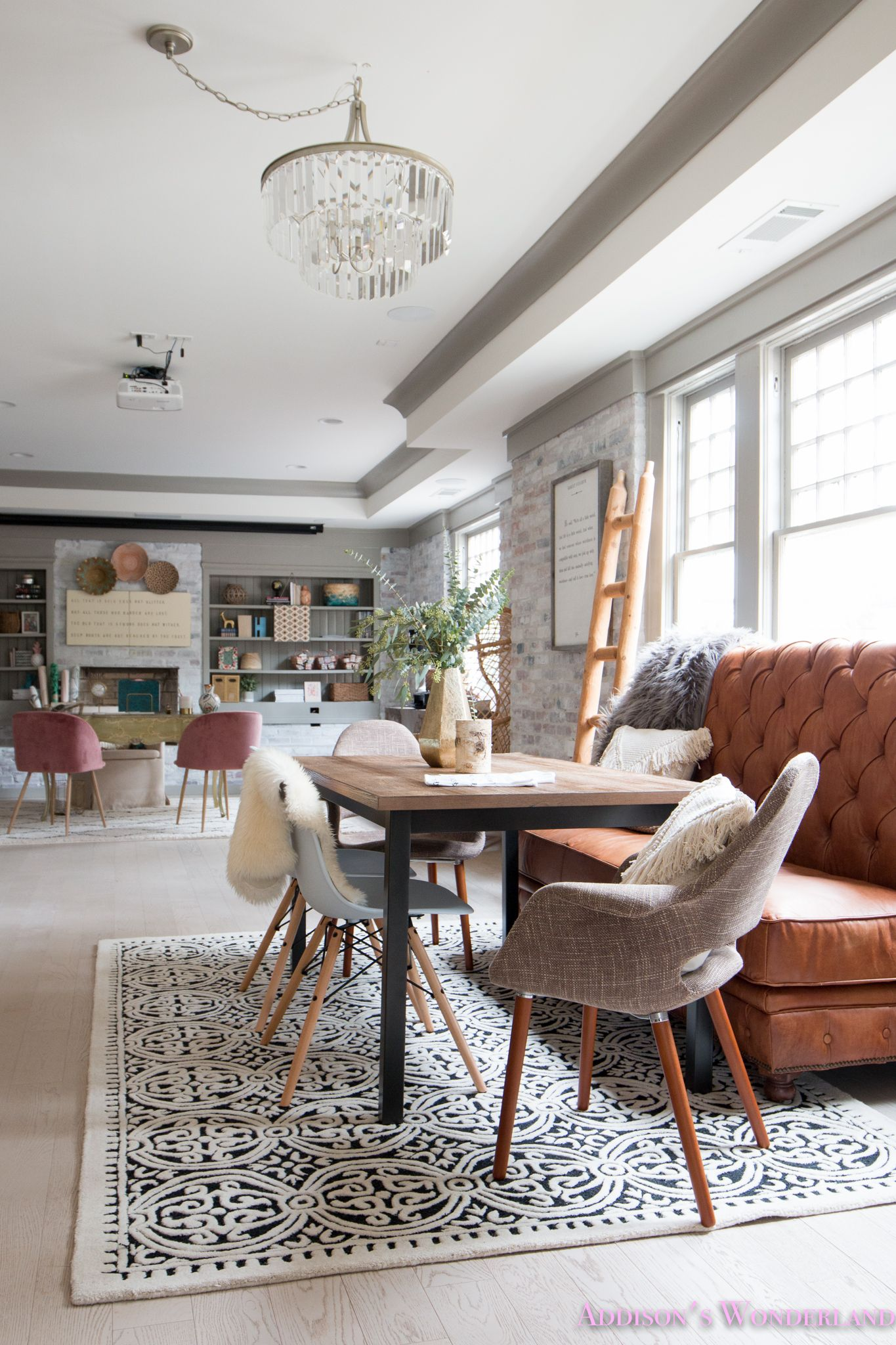 Our Whitewashed Brick Wall Basement Dining Entertaining Space Sharing The Reveal Of O White Brick Wall Living Room Brick Wall Living Room Dining Room Cozy