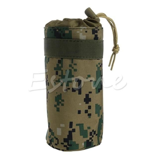 Outdoor Tactical Water Bottle Bag Military Hiking Holder Kettle Pouch Camouflage