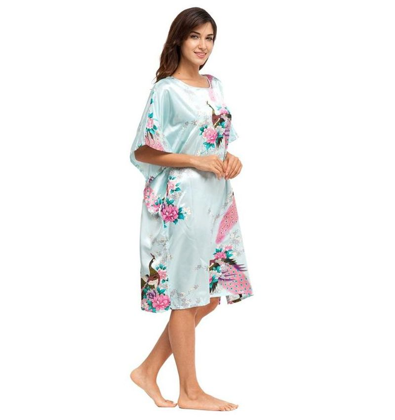 56f19a39f9 Chinese Traditional Women Silk Rayon Sleepwear Nightdress Printed  Nightshirt Robes Summer Lounge Home Wear Plus Size 6XL A-078   Price   US   10.99   Up To ...