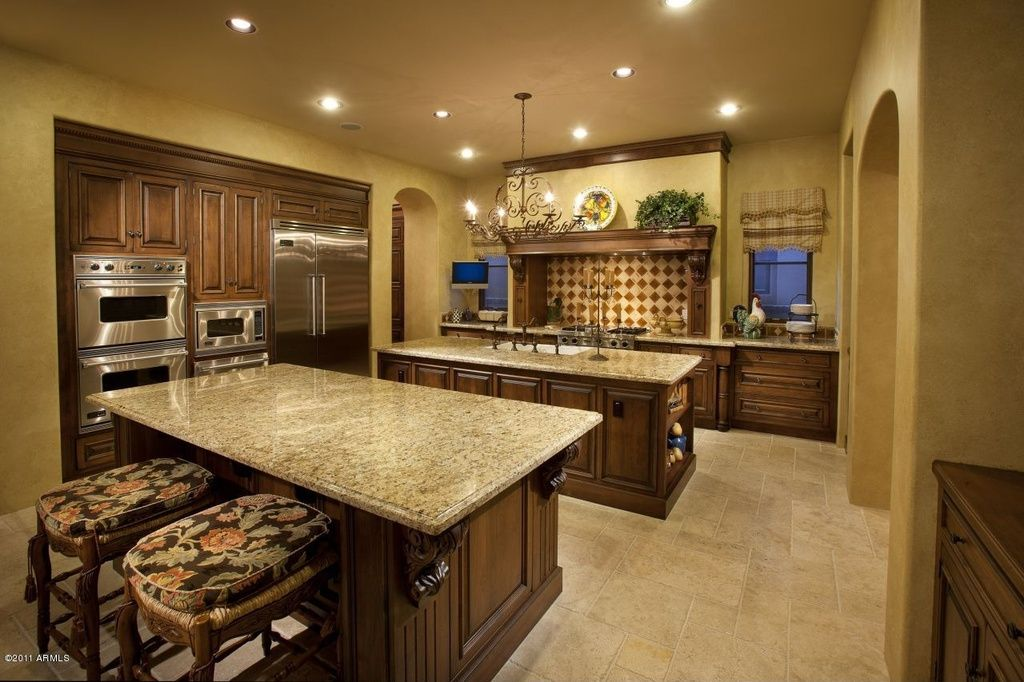 Mediterranean Kitchen with Viking - double wall oven, Complex ...